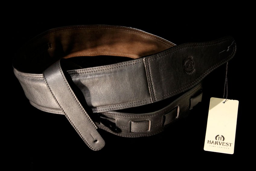 Harvest Leather Top Grade Nappa Guitar Strap - BK