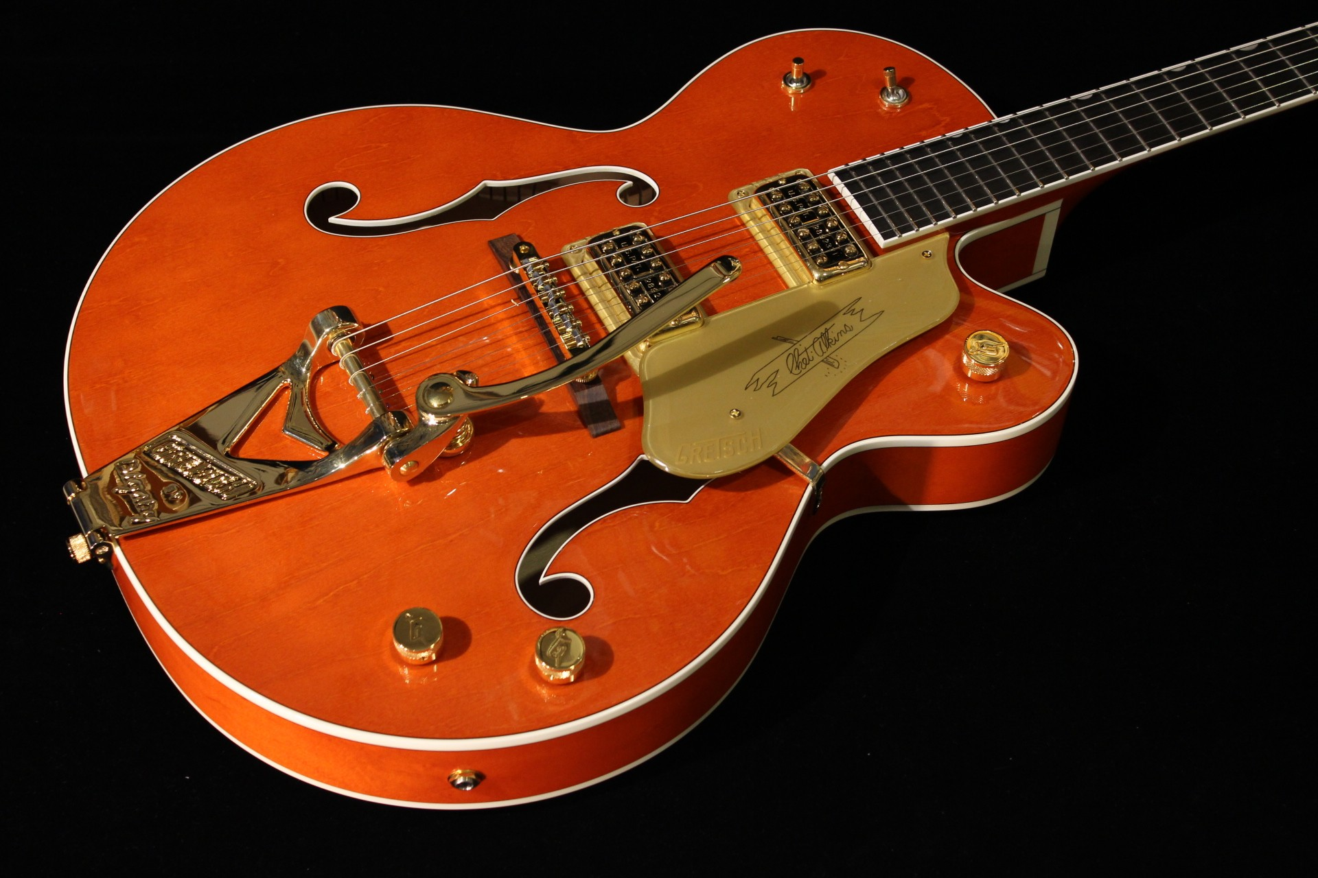 gretsch g6120 chet atkins hollow body orange stain gino guitars. Black Bedroom Furniture Sets. Home Design Ideas